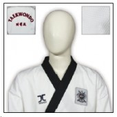 TKD Uniform JCalicu Black Collar Fighter mit Rückenbestickung