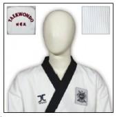 TKD Uniform JCalicu Club gerippt mit schwarzem Revers und Rückenbestickung